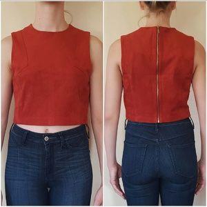 Rust Red Suede Crop Top with Zip Back